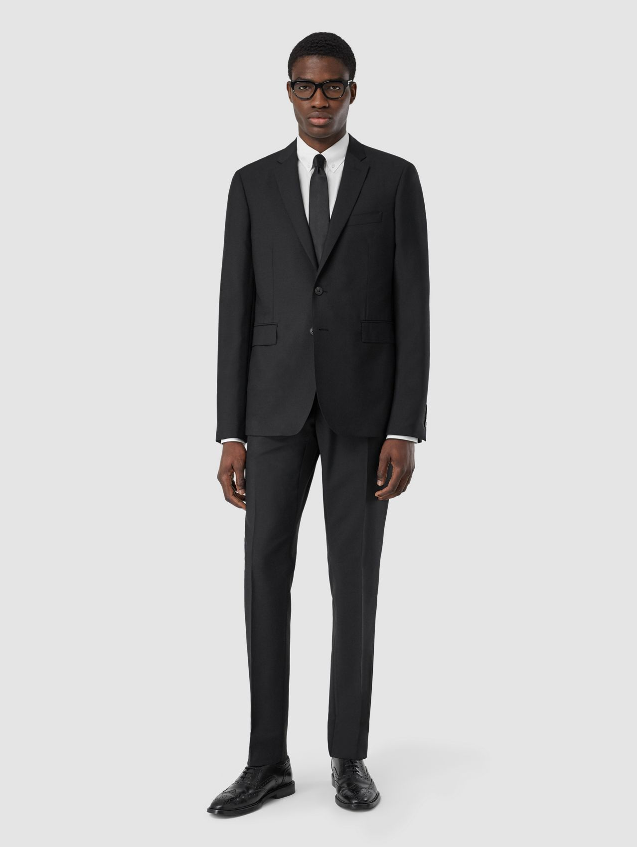 Slim Fit Wool Mohair Suit (Black)