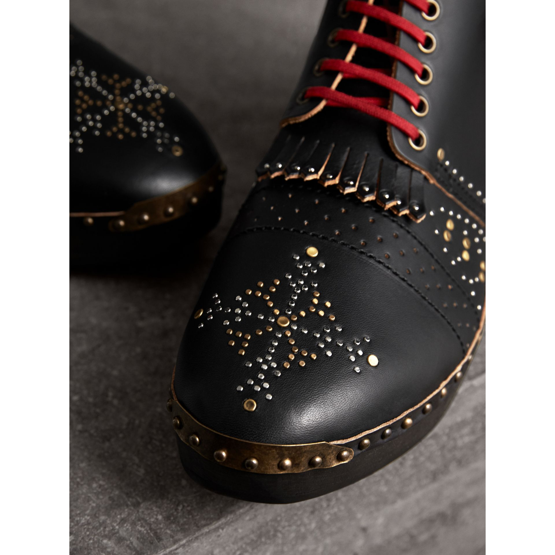 Riveted Leather Clog Boots in Black - Men | Burberry - gallery image 2