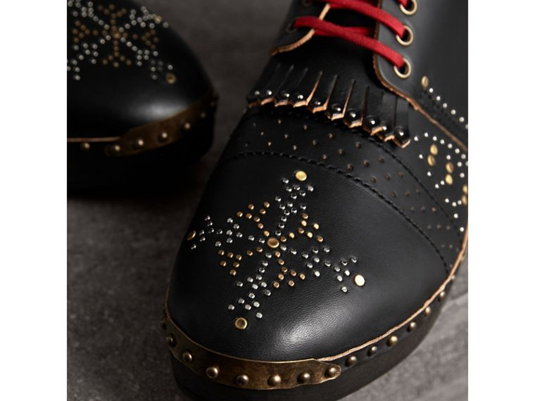 Riveted Leather Clog Boots in Black - Men | Burberry - cell image 1