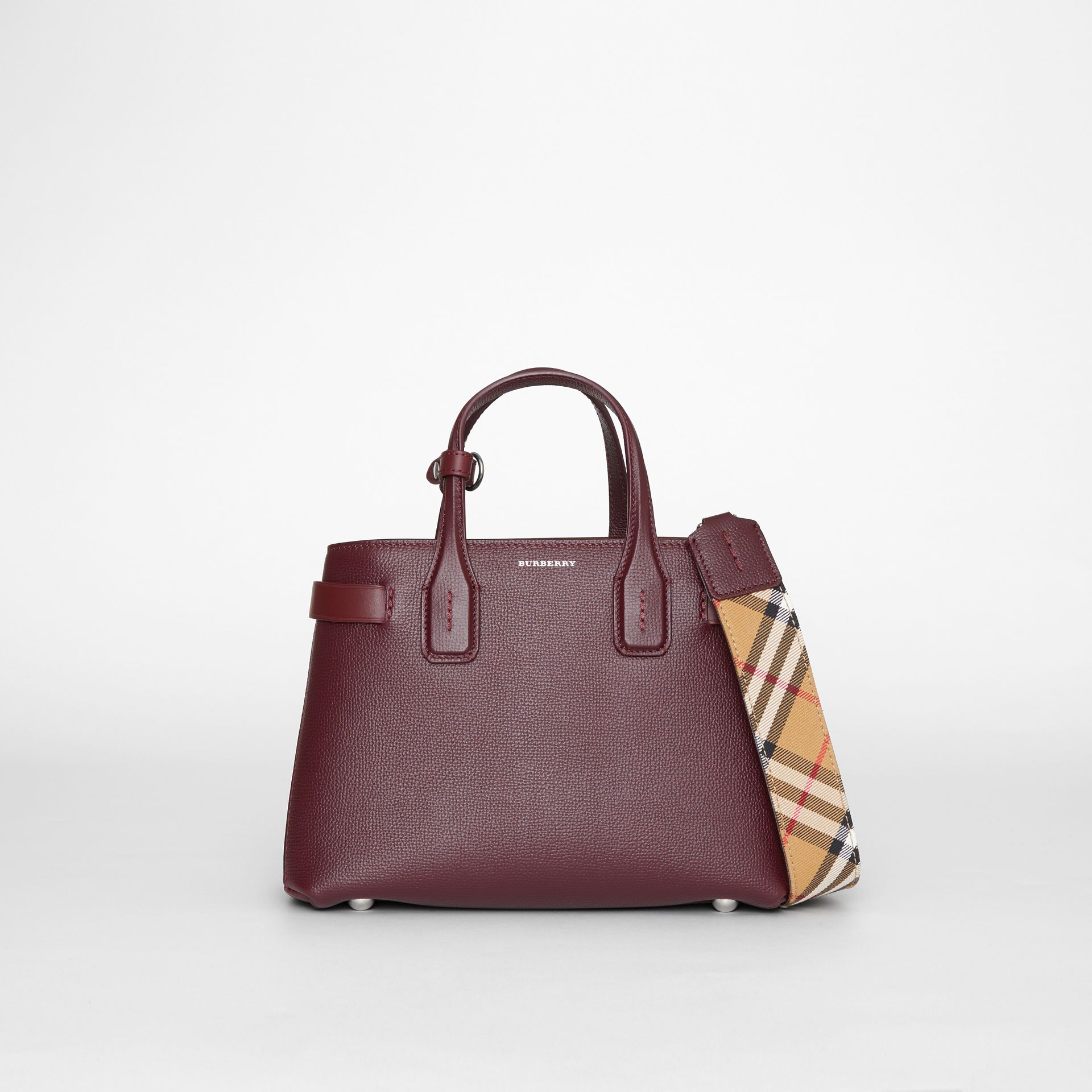 The Small Banner in Leather and Vintage Check in Mahogany Red - Women | Burberry - gallery image 0