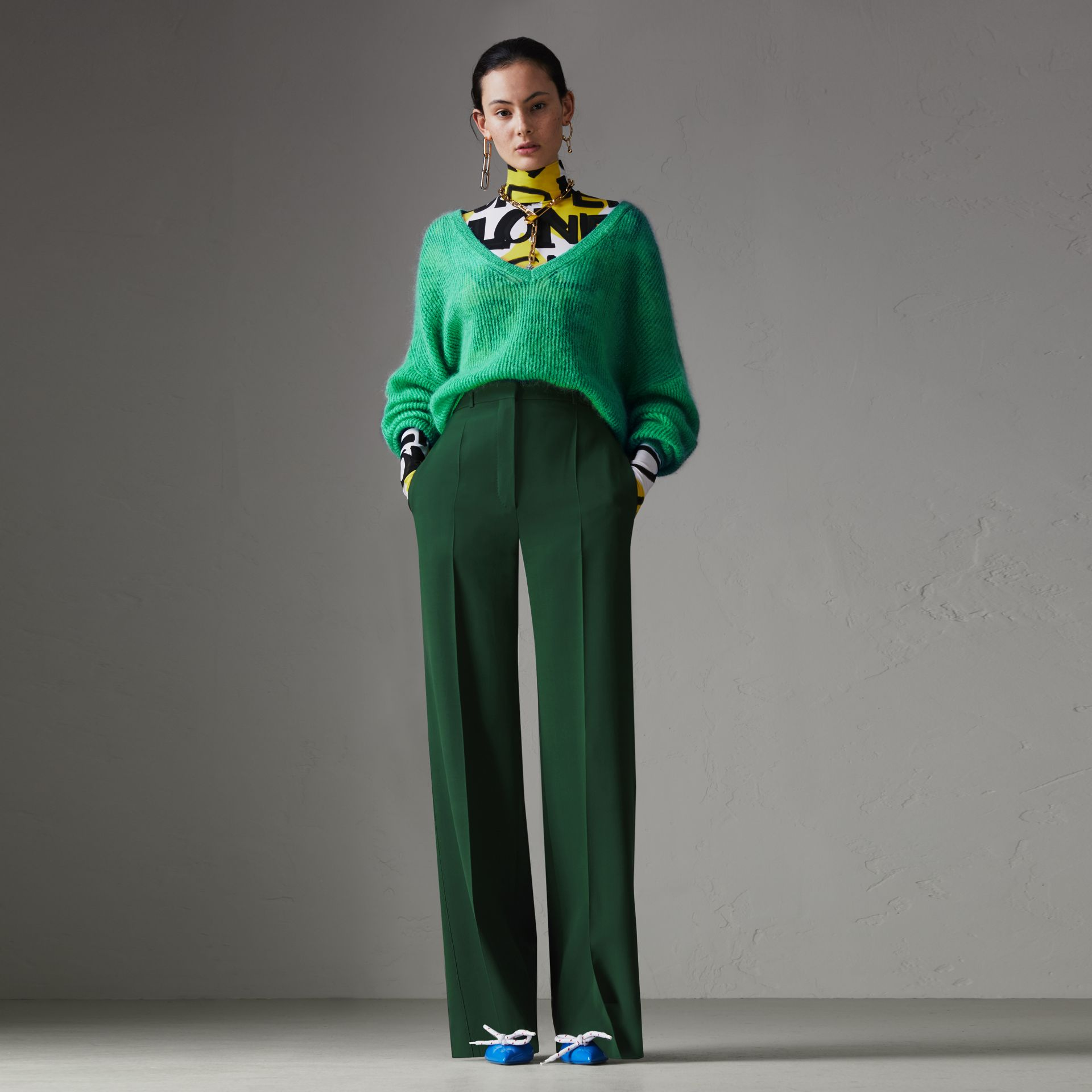 Silk Wool High-waisted Trousers in Dark Forest Green - Women | Burberry - gallery image 0