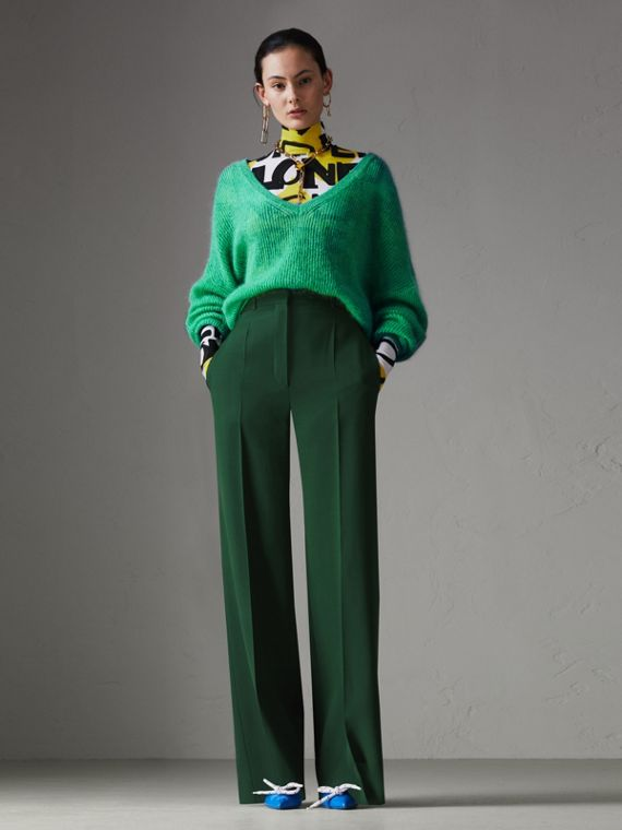 Silk Wool High-waisted Trousers in Dark Forest Green
