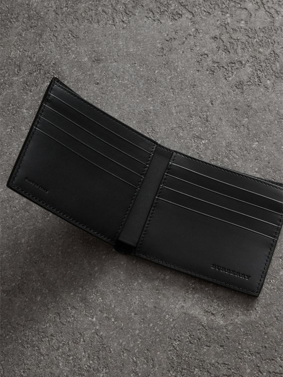 Grainy Leather International Bifold Wallet in Black - Men | Burberry Australia - cell image 3