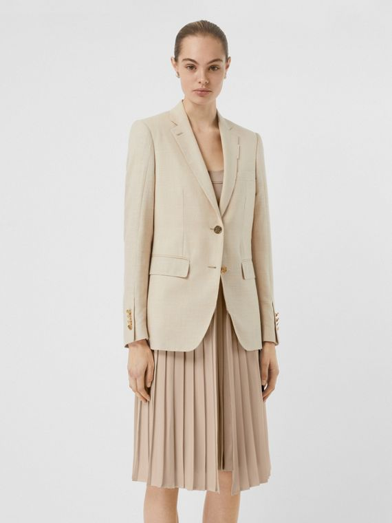 Veste tailleur en laine, soie et lin avec panneau plissé (Sésame)