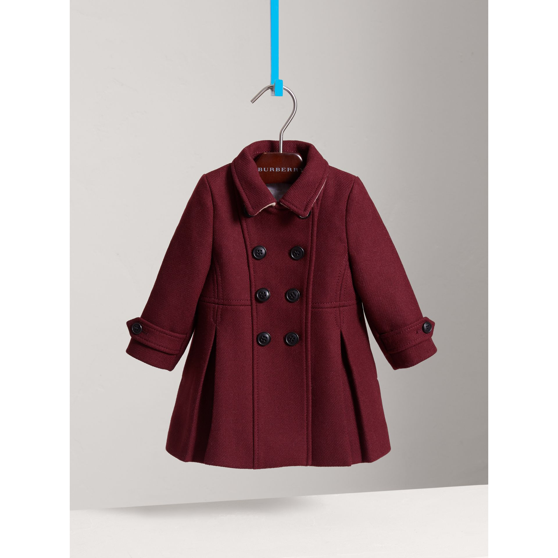 Wool Cashmere Blend Twill Tailored Coat in Garnet | Burberry - gallery image 0