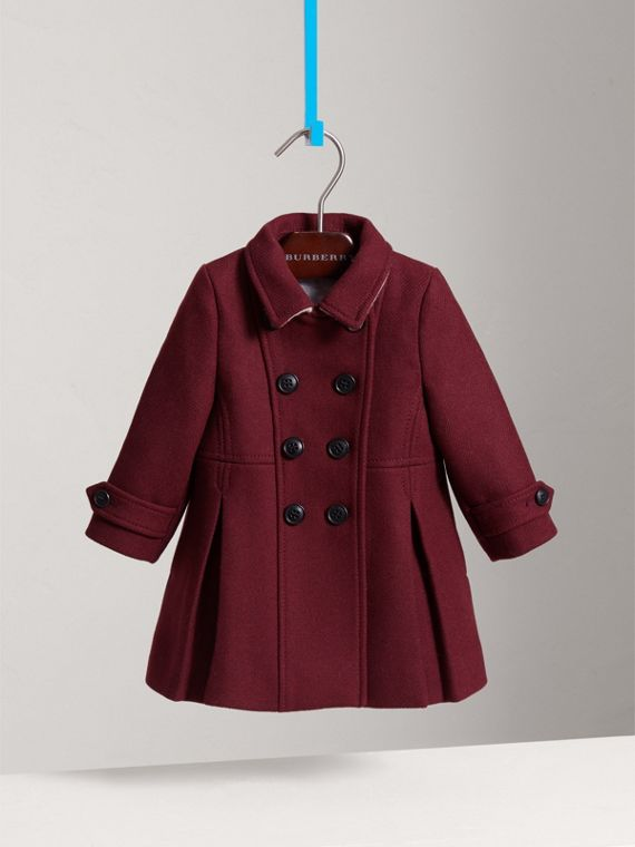 Wool Cashmere Blend Twill Tailored Coat in Garnet