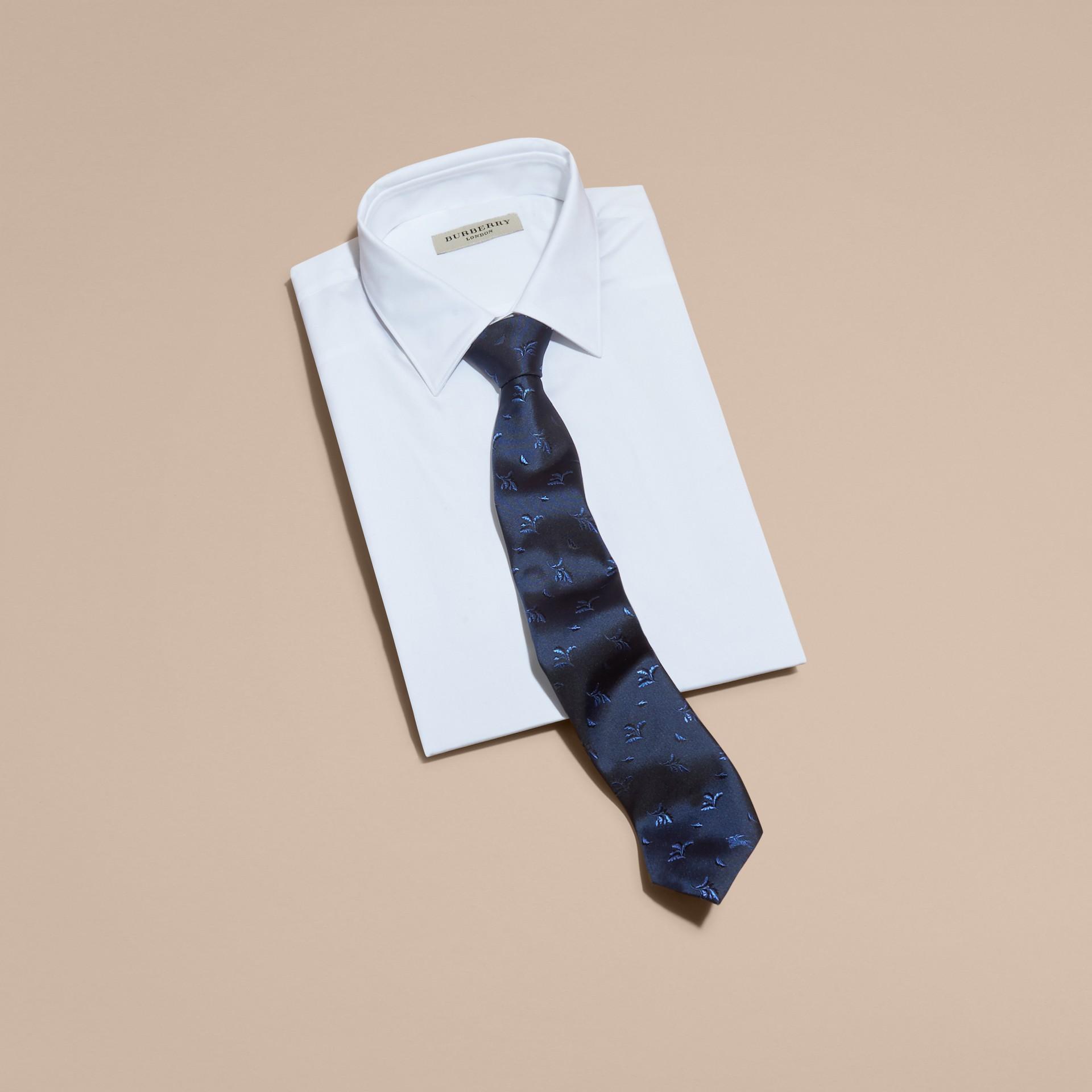 Modern Cut Leaf Jacquard Silk Tie Hydrangea Blue - gallery image 4