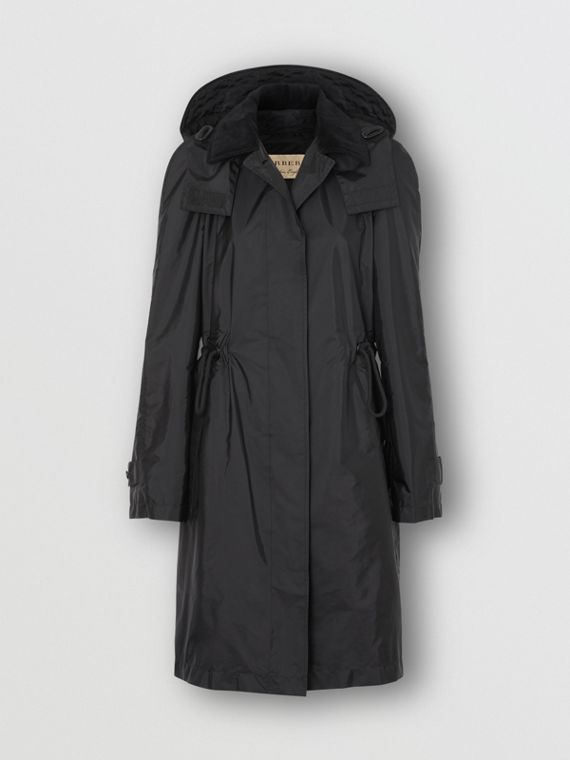 Detachable Hood Taffeta Parka in Black