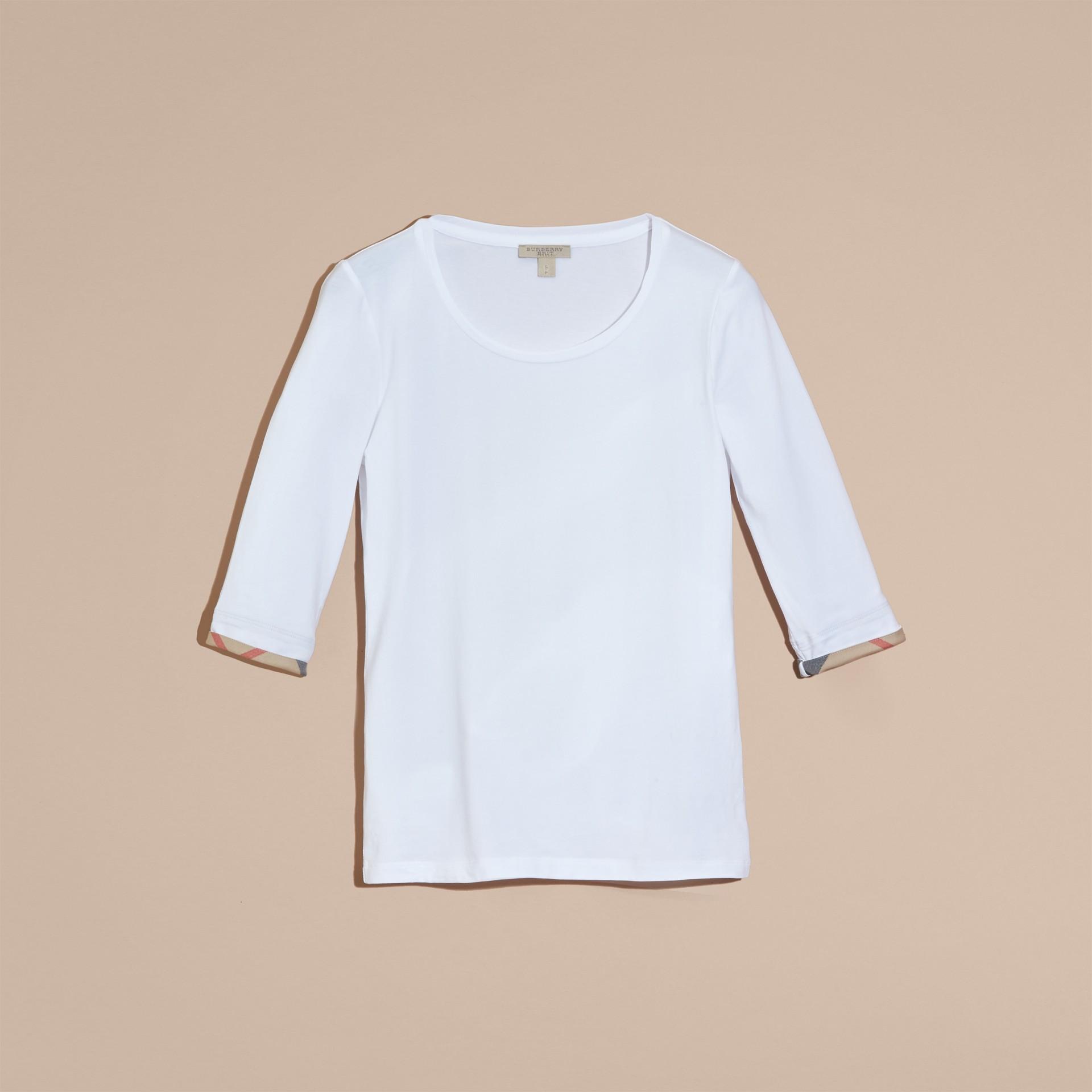 White Check Cuff Stretch-Cotton Top White - gallery image 3