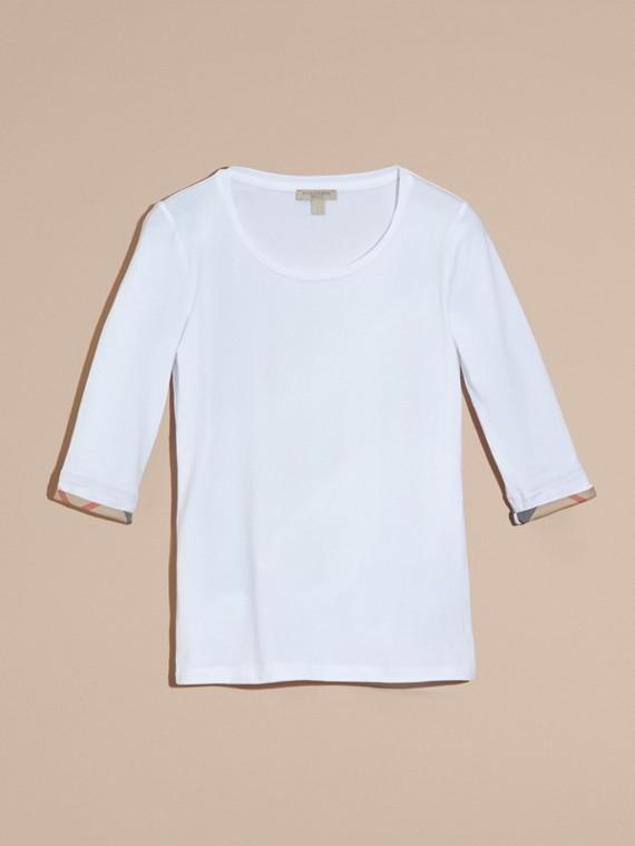 White Check Cuff Stretch-Cotton Top White - cell image 2