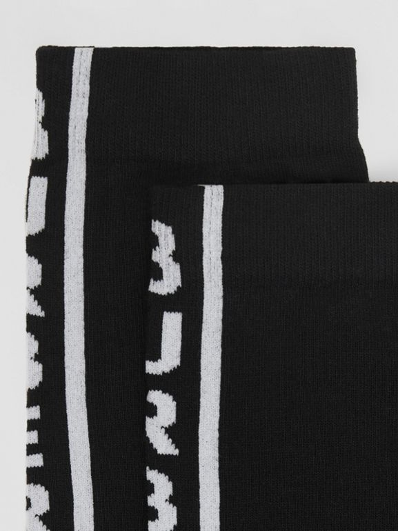 Logo Intarsia Cotton Blend Socks in White/black | Burberry - cell image 1