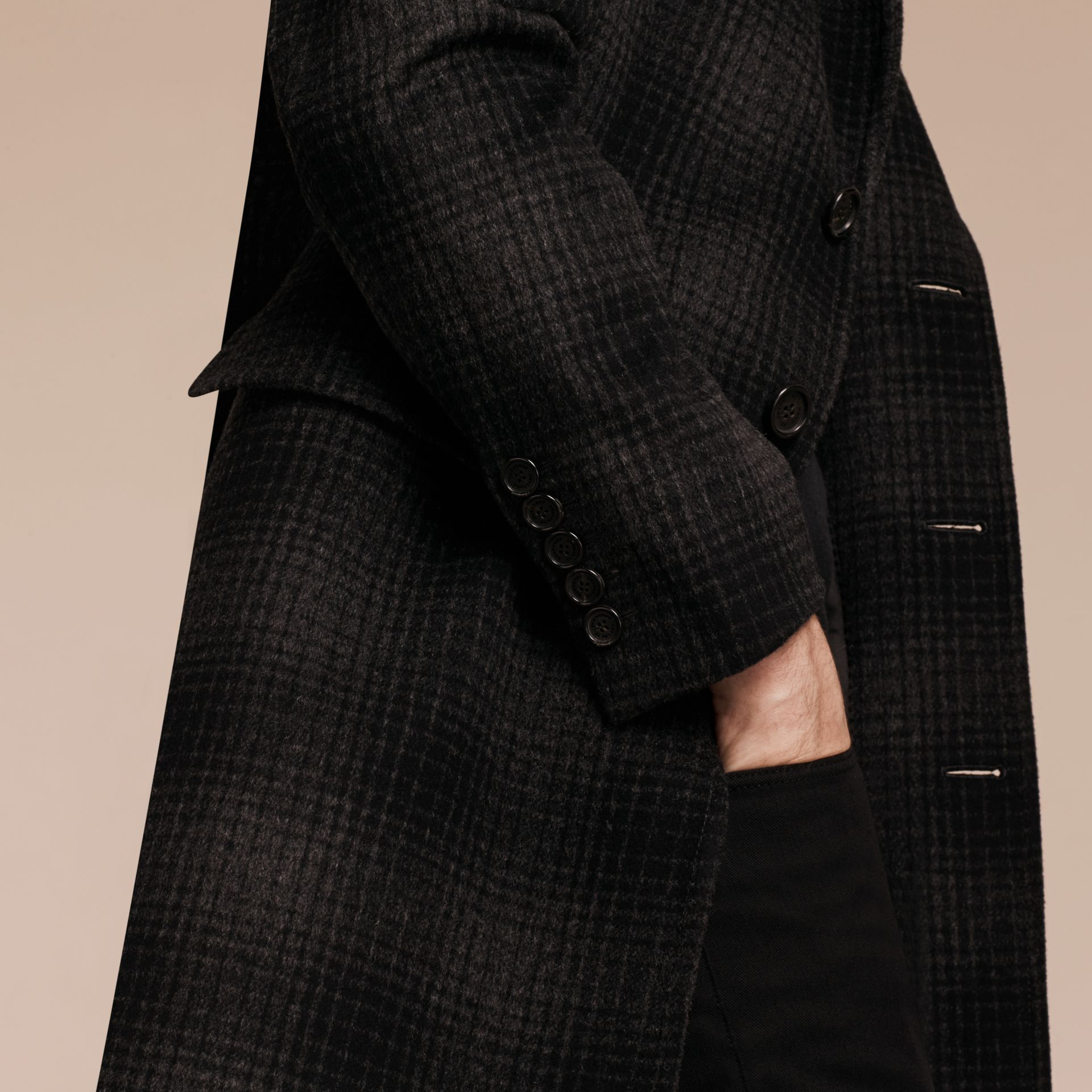 Charcoal melange Tailored Check Wool Cashmere Coat - gallery image 5