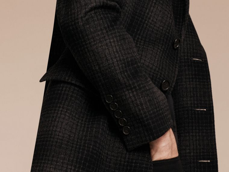 Charcoal melange Tailored Check Wool Cashmere Coat - cell image 4
