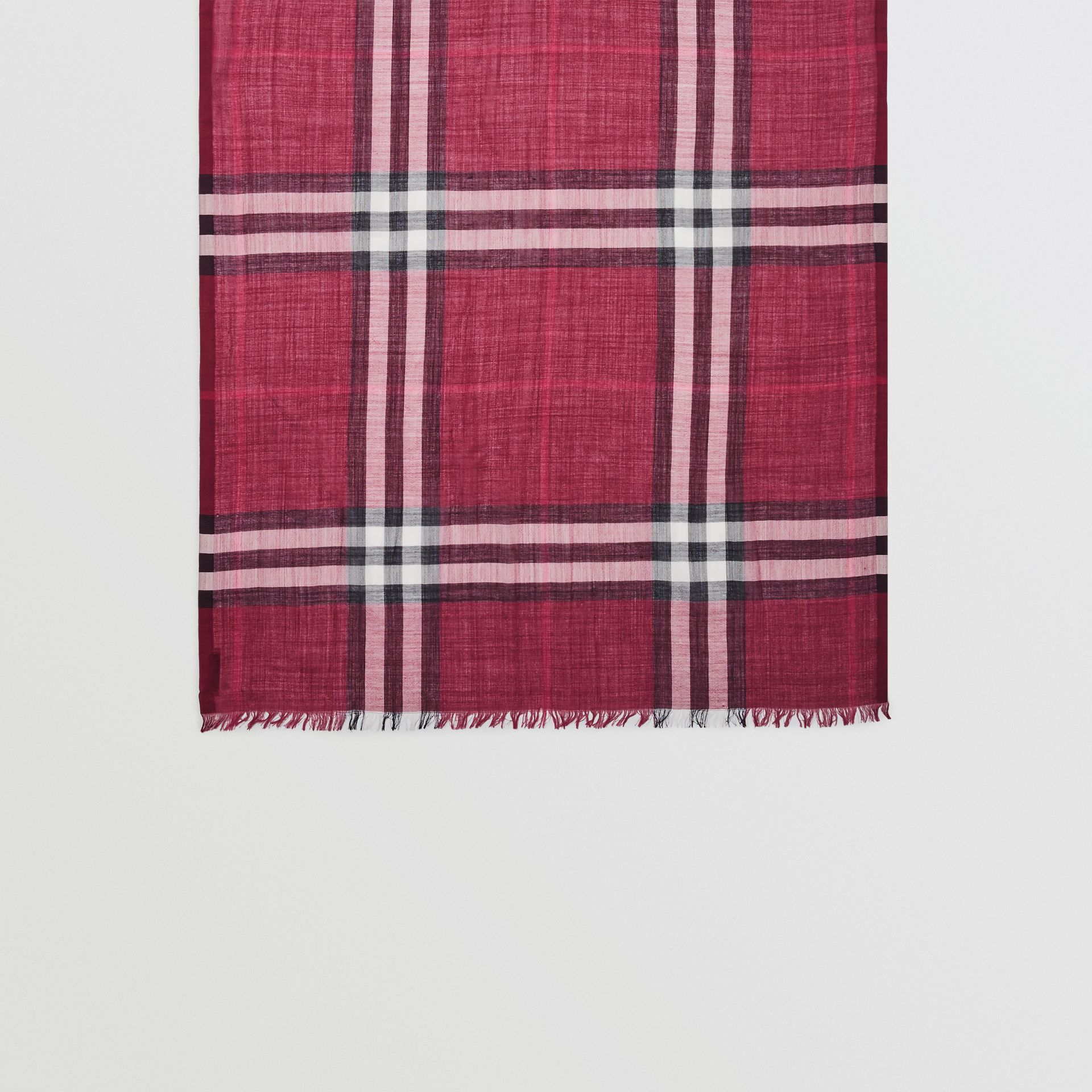 Lightweight Check Wool and Silk Scarf in Plum | Burberry Australia - gallery image 4