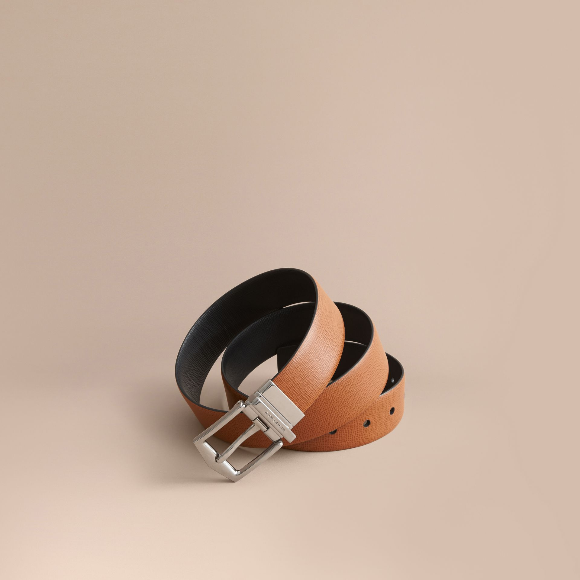 Reversible London Leather Belt in Tan/black - gallery image 1