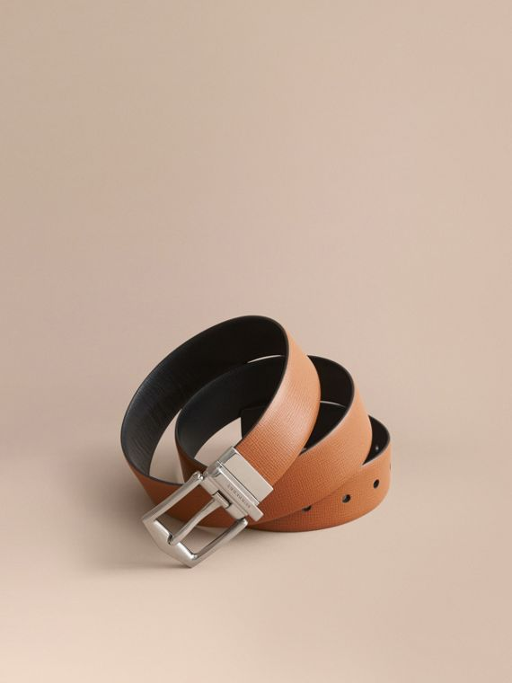 Reversible London Leather Belt in Tan/black