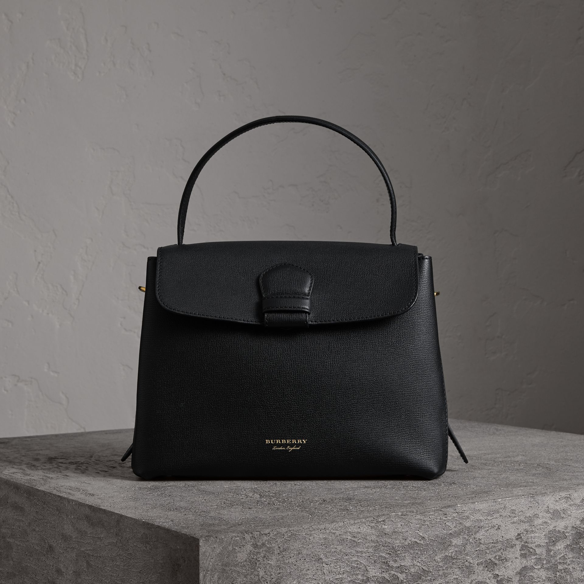 Medium Grainy Leather and House Check Tote Bag in Black - Women | Burberry - gallery image 6