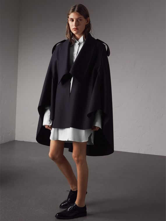 Wool Cashmere Blend Military Cape in True Navy