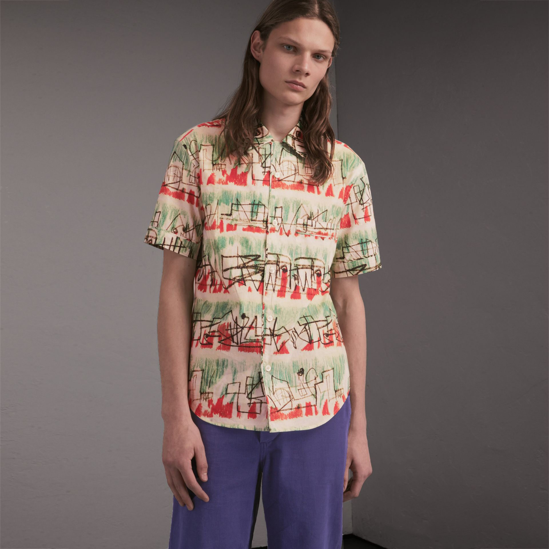 Short-sleeve Abstract Lines Print Cotton Shirt in Pale Tourmaline - Men | Burberry - gallery image 1