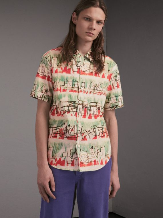 Short-sleeve Abstract Lines Print Cotton Shirt