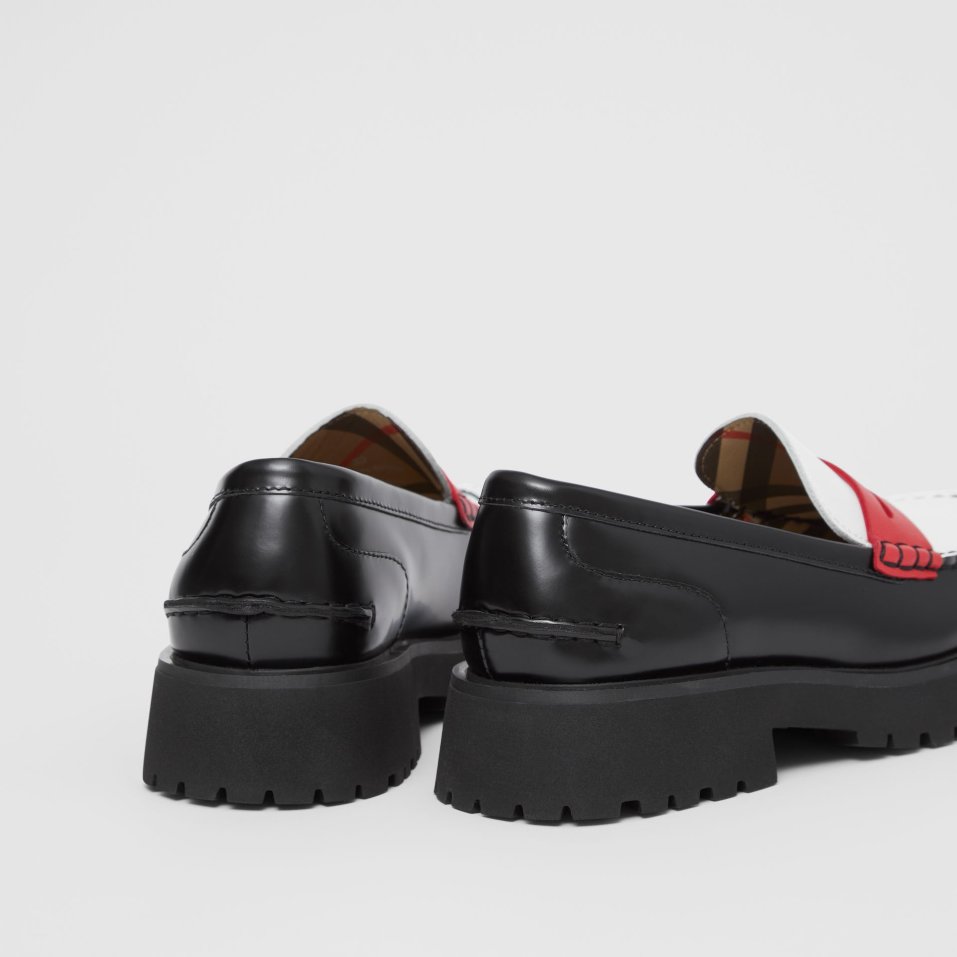 Tri-tone Leather Loafers in Optic White/red - Children | Burberry United Kingdom - gallery image 1