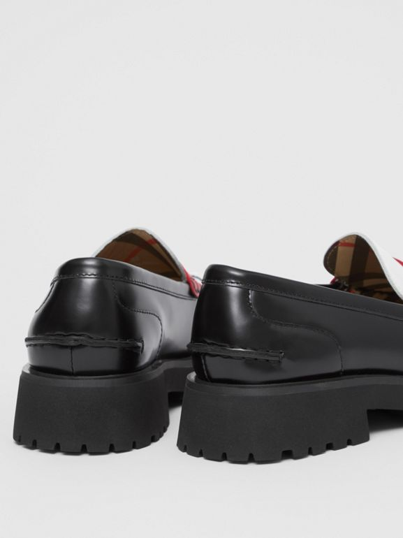 Tri-tone Leather Loafers in Optic White/red - Children | Burberry United Kingdom - cell image 1