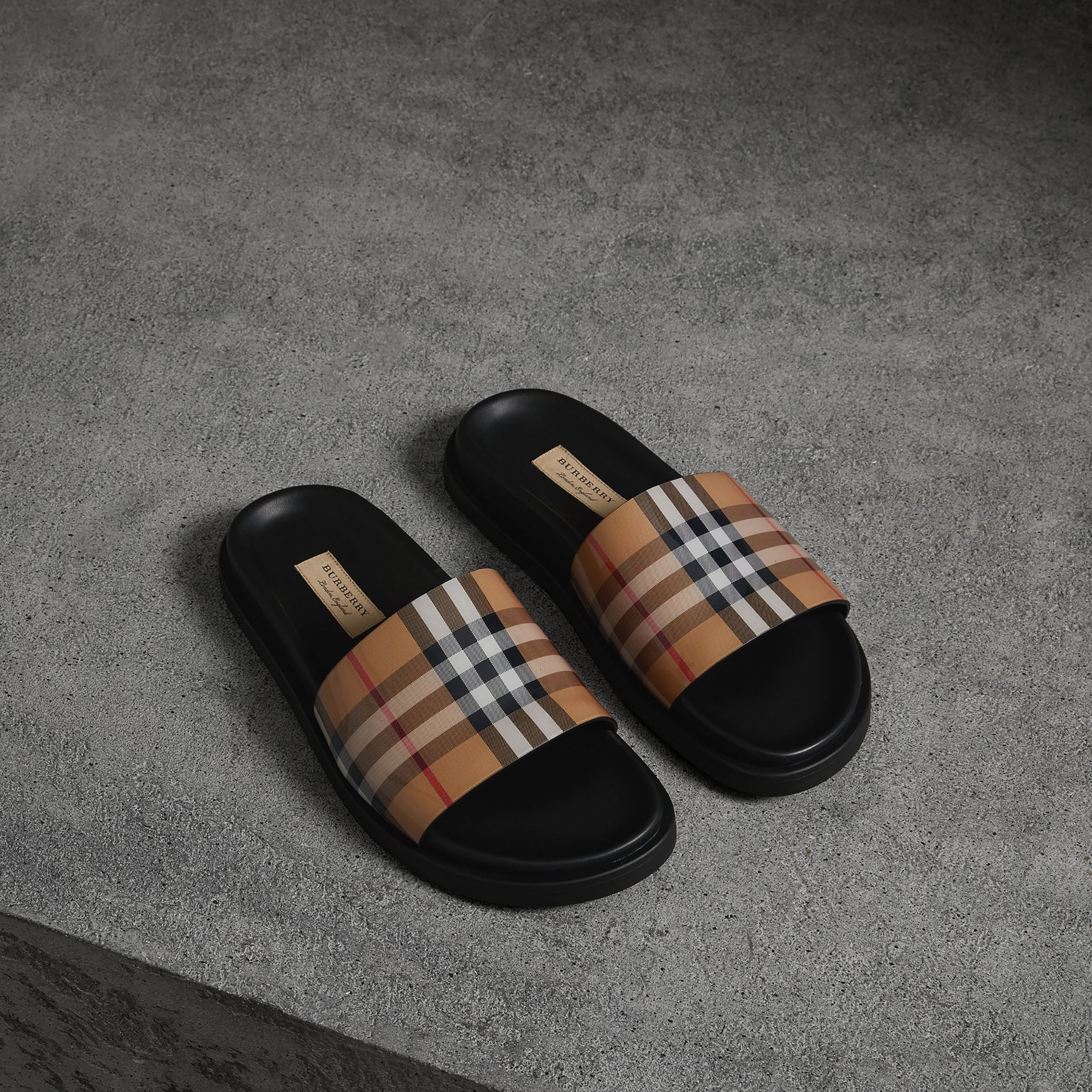 Vintage Check and Leather Slides in Antique Yellow - Women | Burberry - gallery image 0