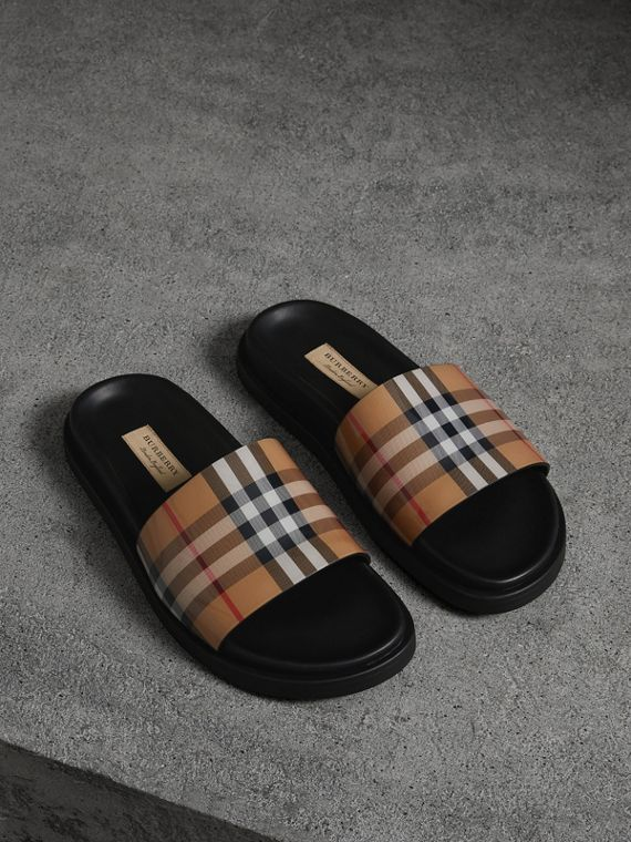 Vintage Check and Leather Slides in Antique Yellow