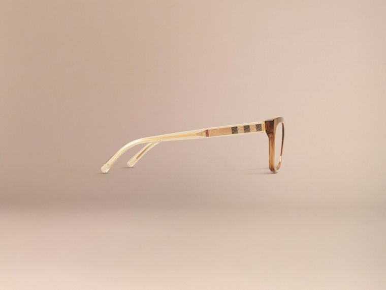 Check Detail Oval Optical Frames Taupe Brown - cell image 4