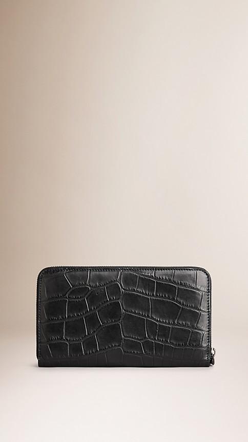 Black Alligator Ziparound Wallet - Image 2