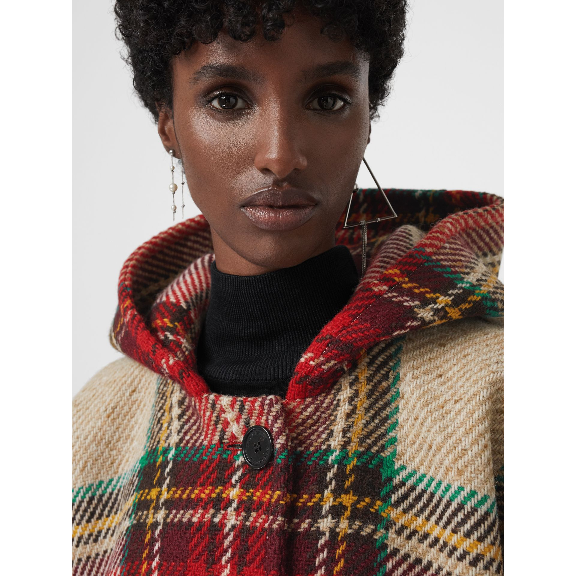 Tartan Wool Hooded Poncho in Crimson - Women | Burberry - gallery image 1