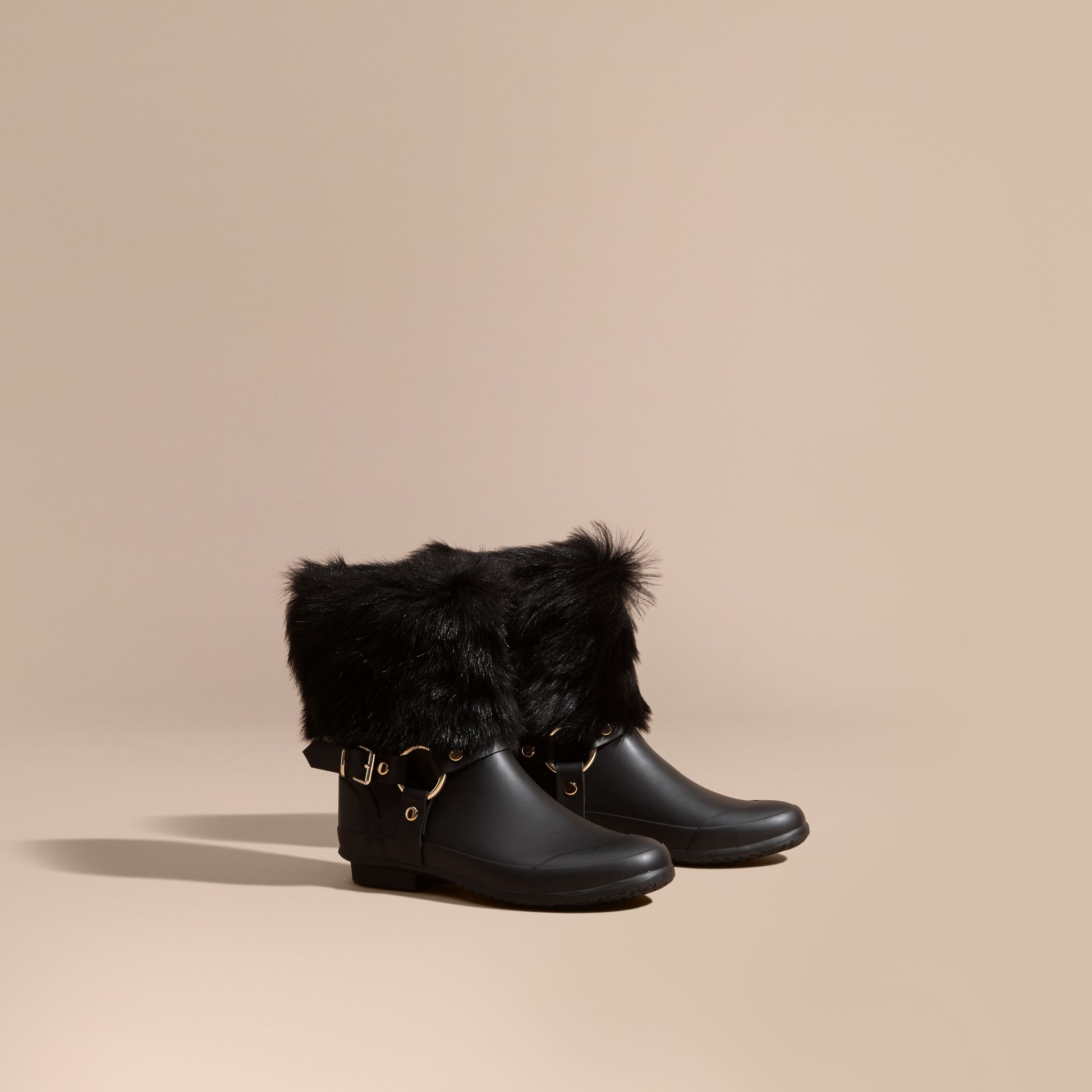 Black Belt Detail Shearling and Rubber Rain Boots - gallery image 1