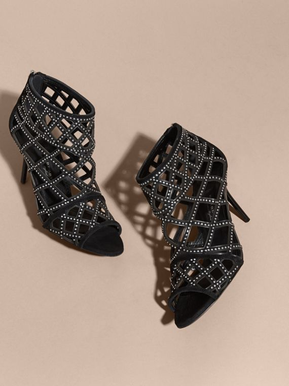 Black Studded Cut-out Leather Peep-toe Ankle Boots - cell image 2