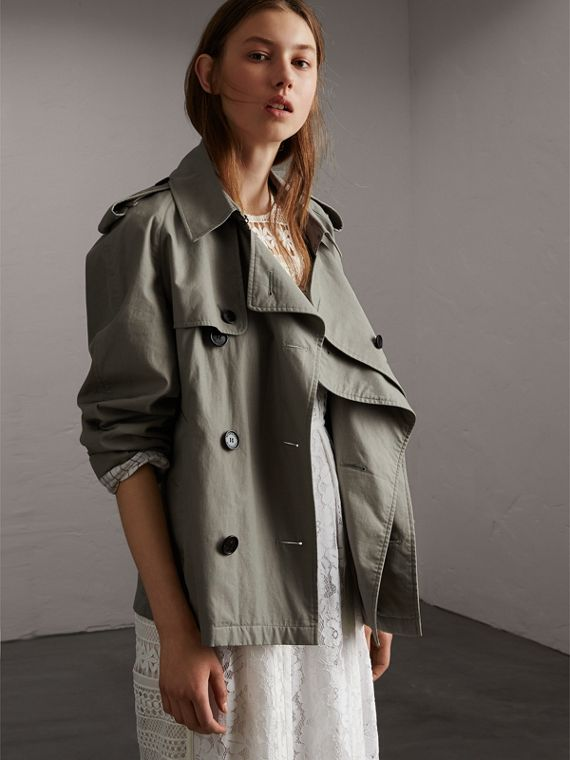 Unisex Tropical Gabardine Trench Jacket in Slate Green