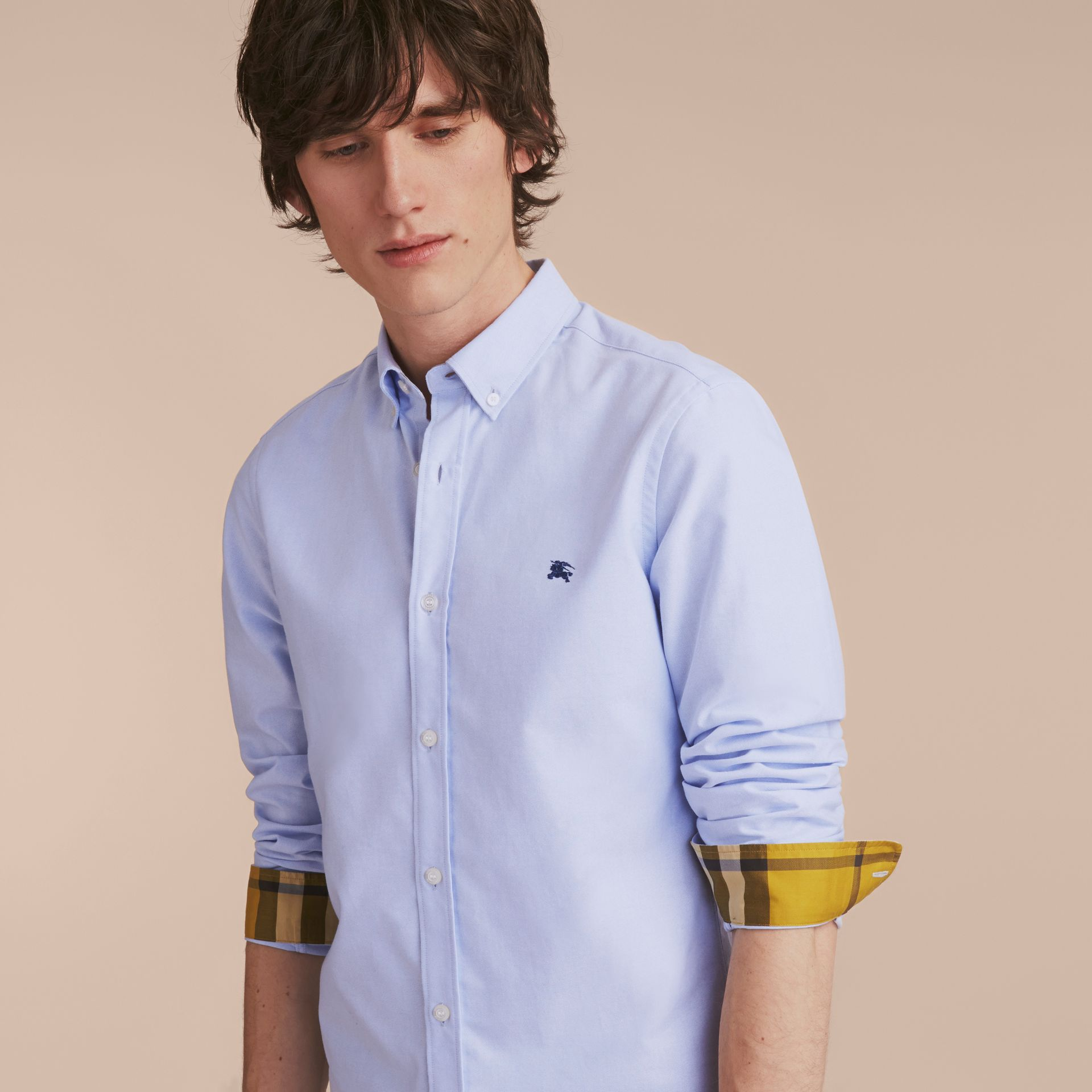 Button-down Collar Cotton Oxford Shirt with Check Detail Cornflower Blue - gallery image 5