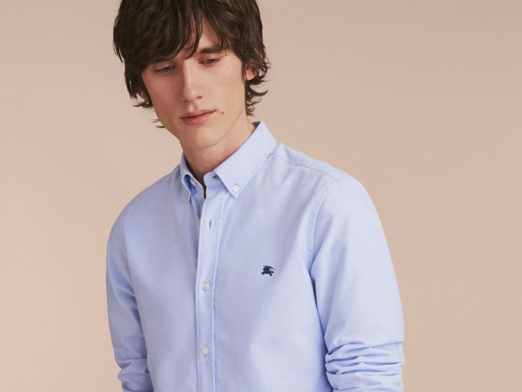 Button-down Collar Cotton Oxford Shirt with Check Detail Cornflower Blue - cell image 4