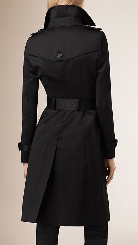 Black Cotton Sateen Trench Coat - Image 3