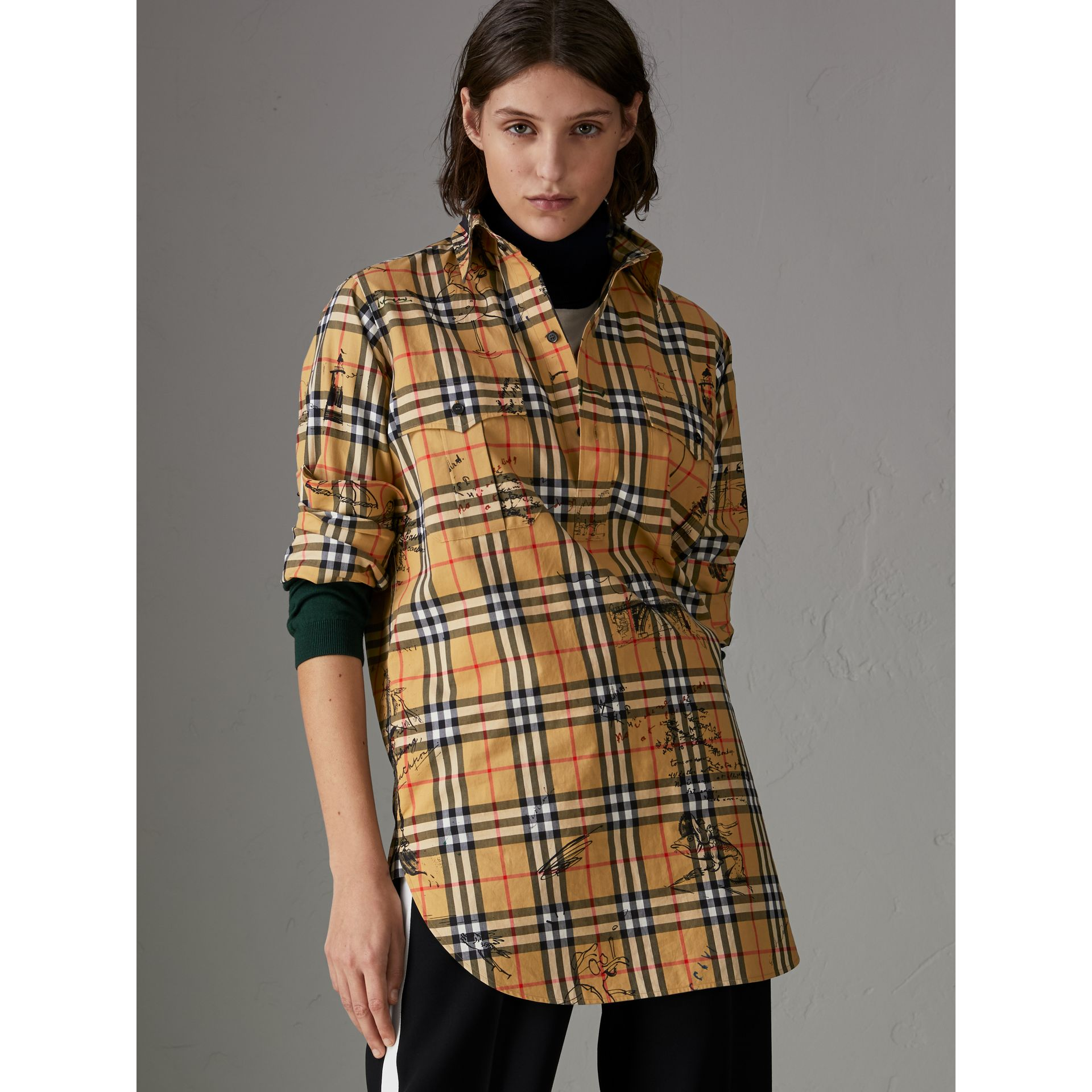Postcard Print Vintage Check Tunic Shirt in Antique Yellow - Women | Burberry - gallery image 4