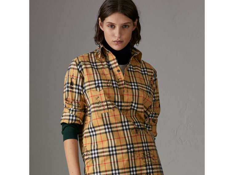 Postcard Print Vintage Check Tunic Shirt in Antique Yellow - Women | Burberry United States - cell image 4