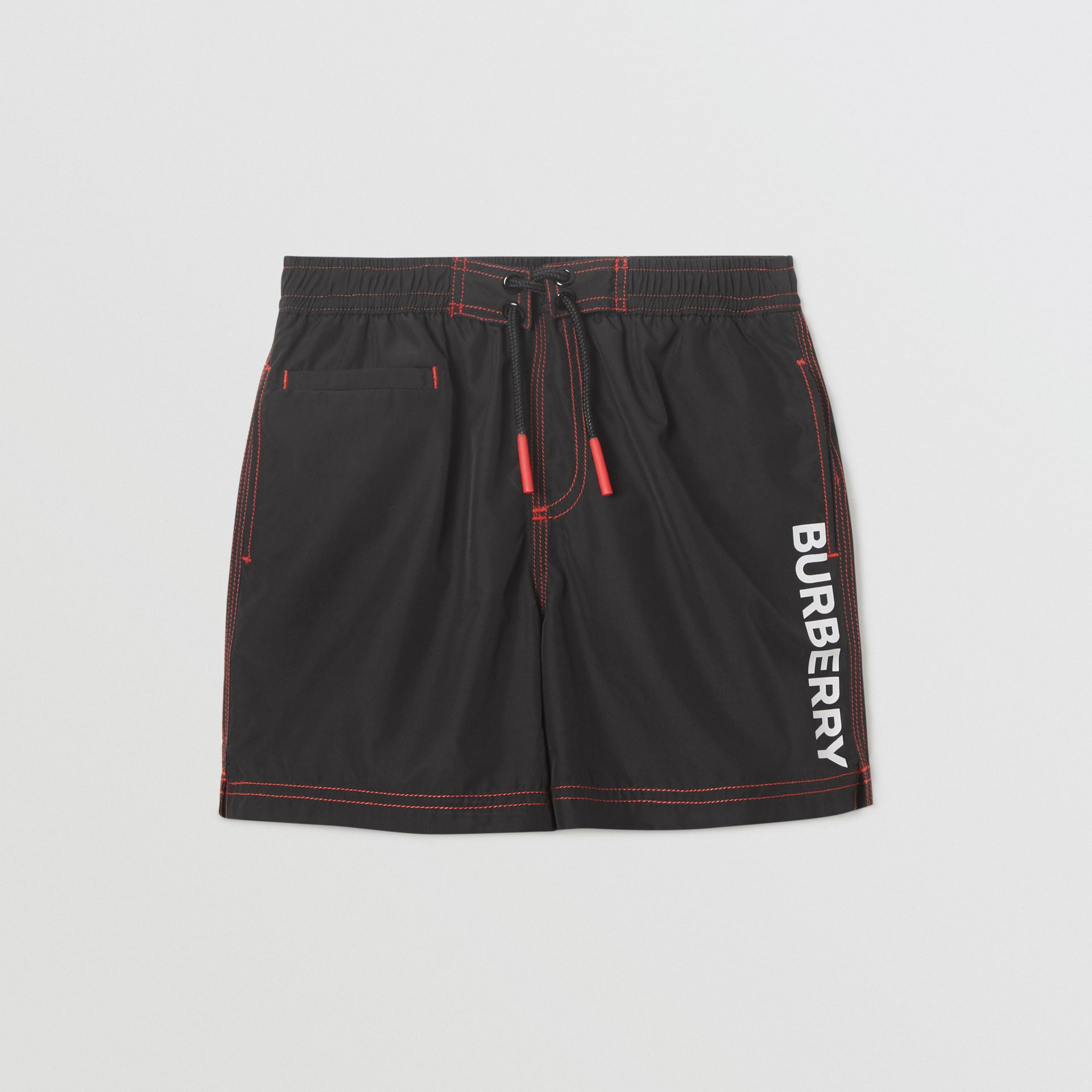 Logo Print Drawcord Swim Shorts in Black | Burberry - gallery image 0