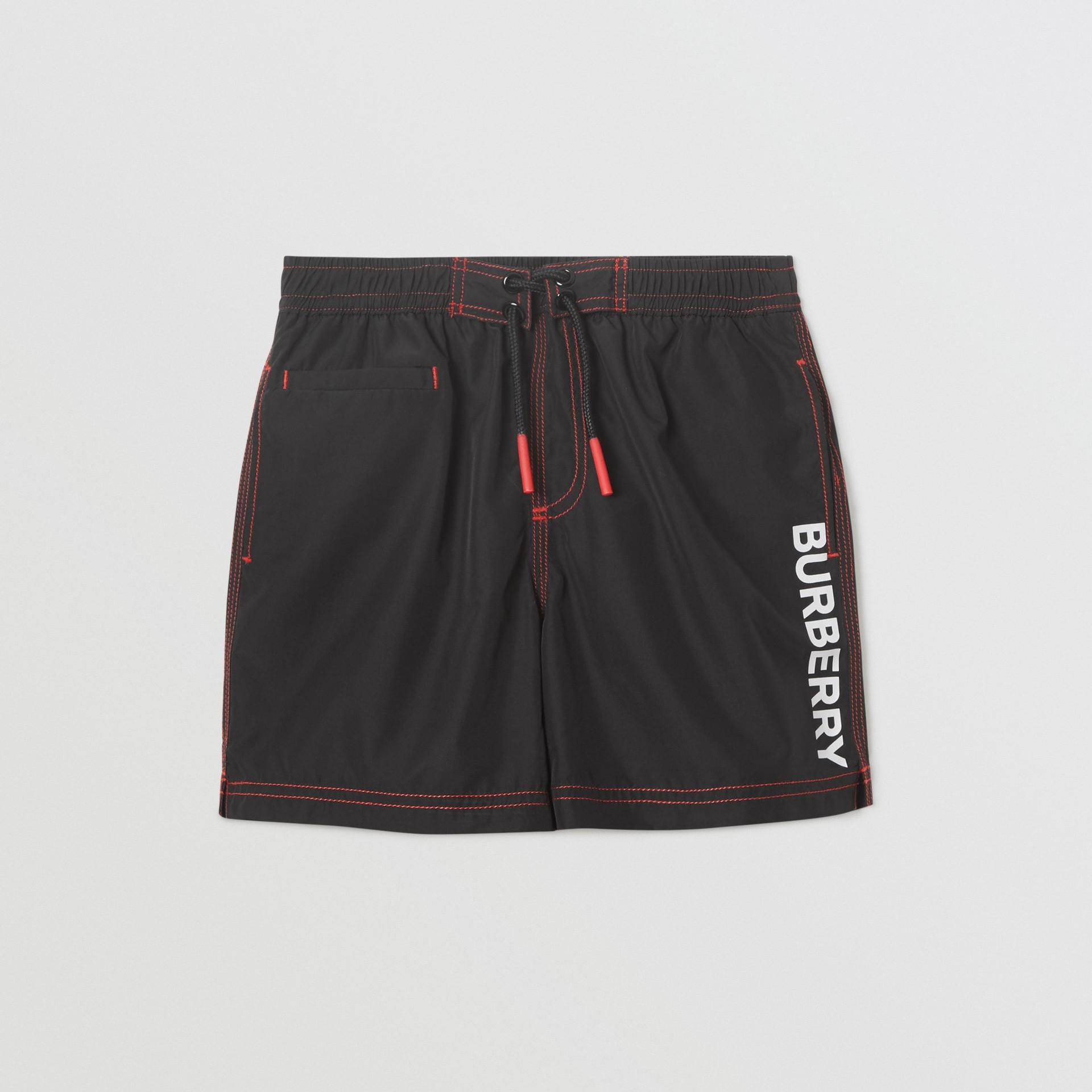 Logo Print Drawcord Swim Shorts in Black | Burberry United Kingdom - gallery image 0