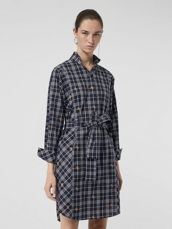 Fil Coupé Check Cotton Tie-waist Shirt Dress in Navy