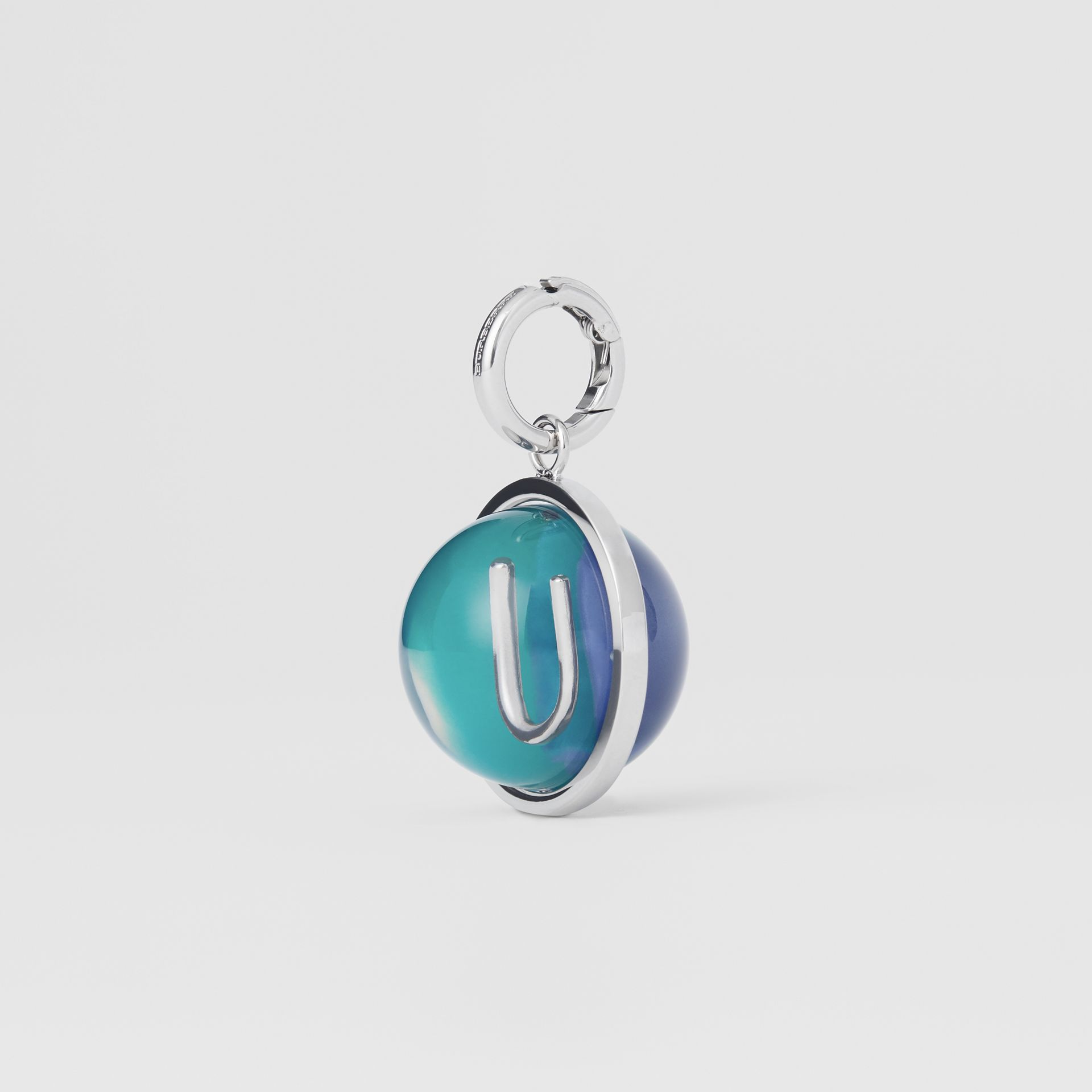 Marbled Resin 'U' Alphabet Charm in Palladio/ocean Blue - Women | Burberry - gallery image 4