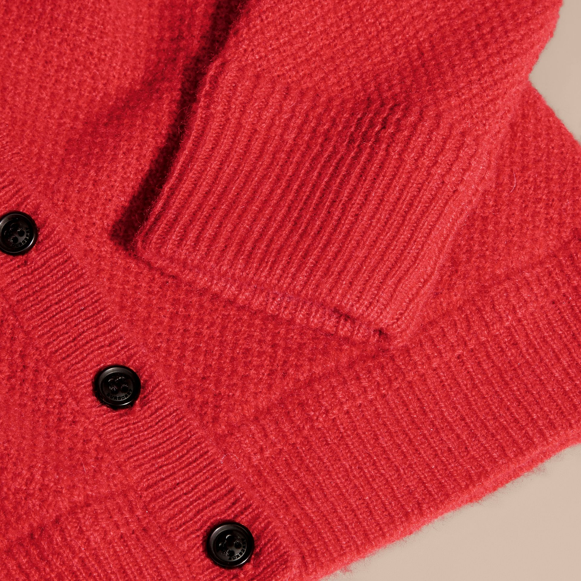 Textured Knit Cashmere Cardigan in Parade Red | Burberry - gallery image 2