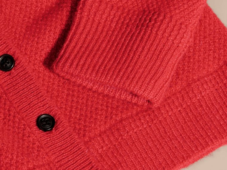 Textured Knit Cashmere Cardigan in Parade Red | Burberry - cell image 1