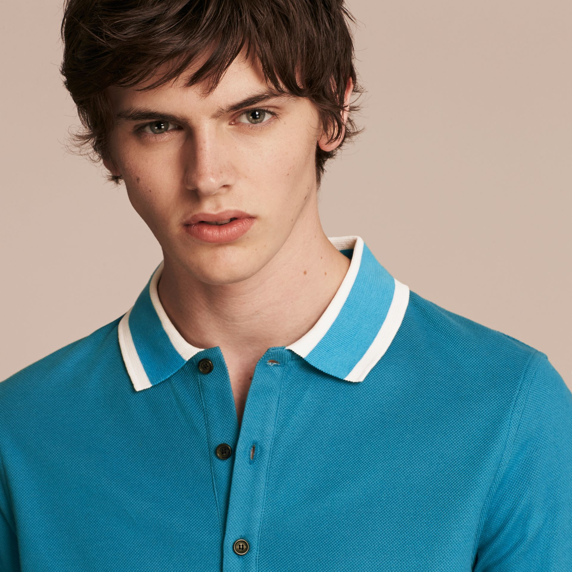 Striped Collar Cotton Piqué Polo Shirt Bright Turquoise - gallery image 5