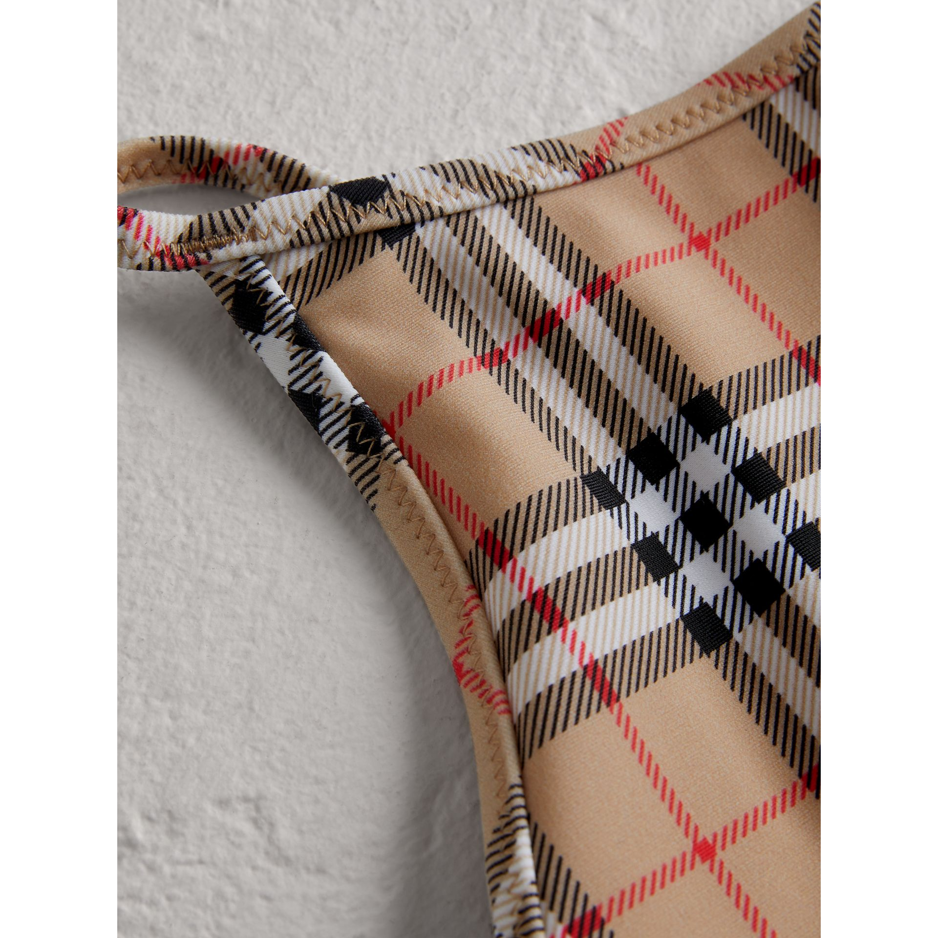 Vintage Check One-piece Swimsuit in Camel - Girl | Burberry Hong Kong - gallery image 1