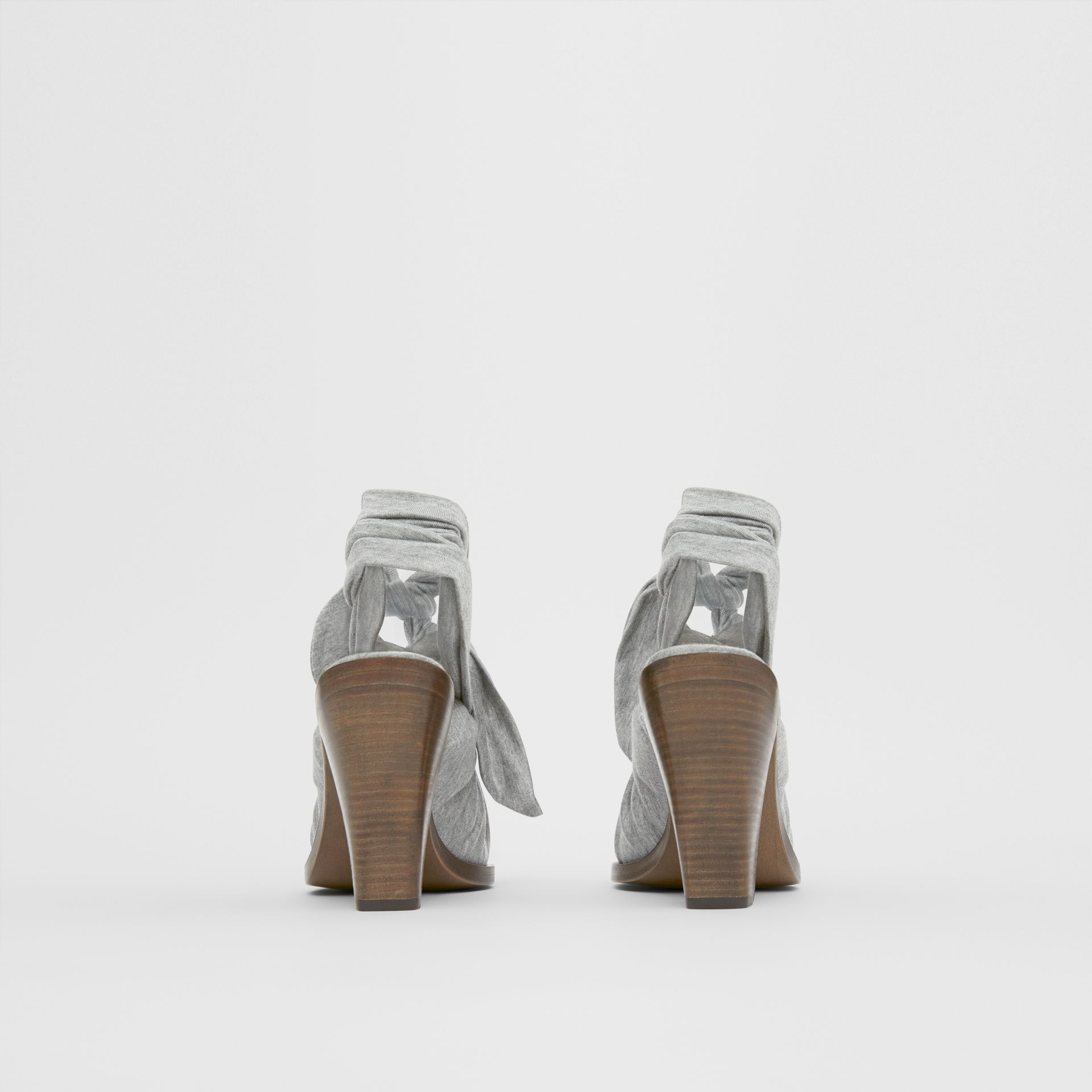 Scarf Tie Detail Jersey Point-toe Mules in Pewter Melange - Women | Burberry - gallery image 4