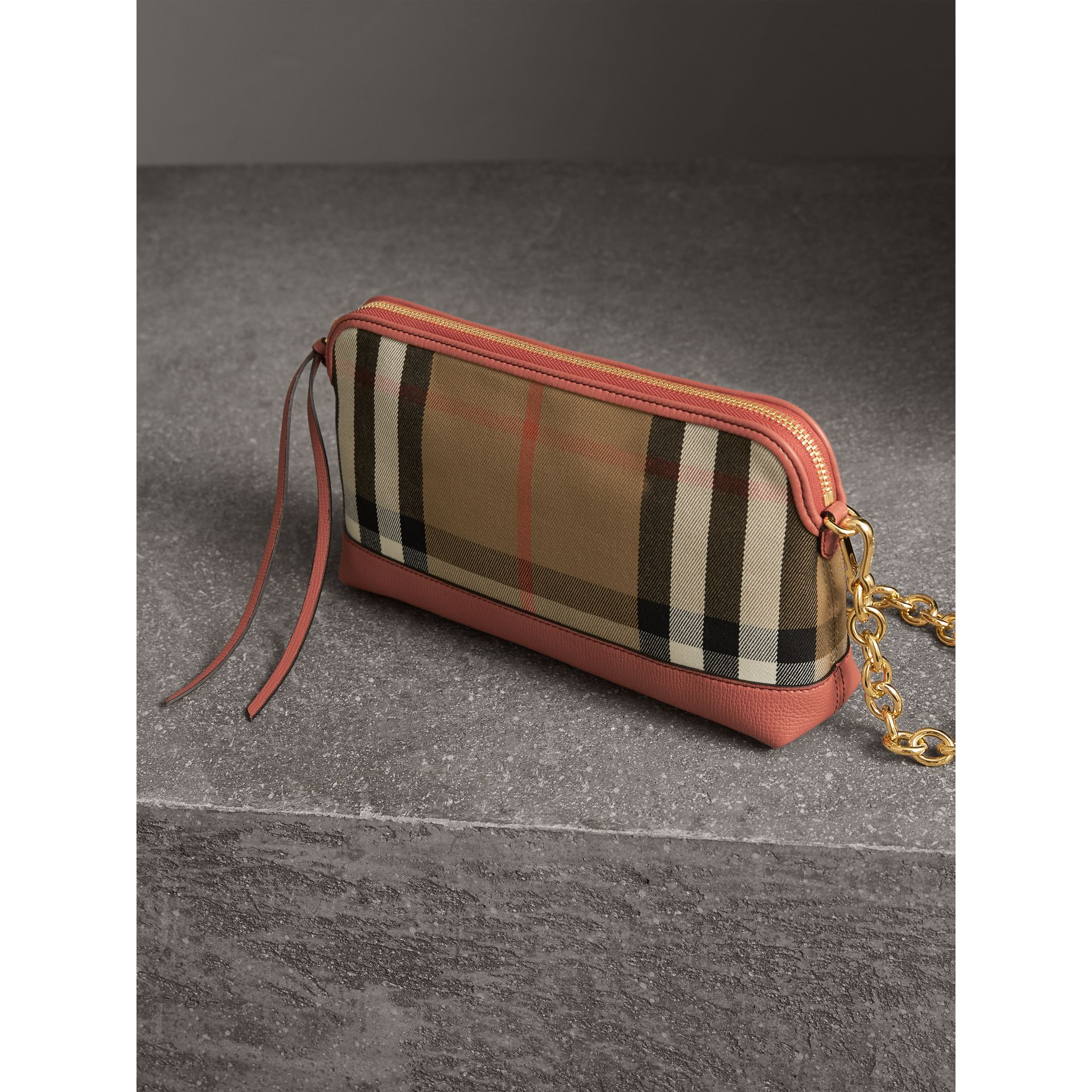 House Check and Leather Clutch Bag in Cinnamon Red - Women | Burberry Singapore - gallery image 7