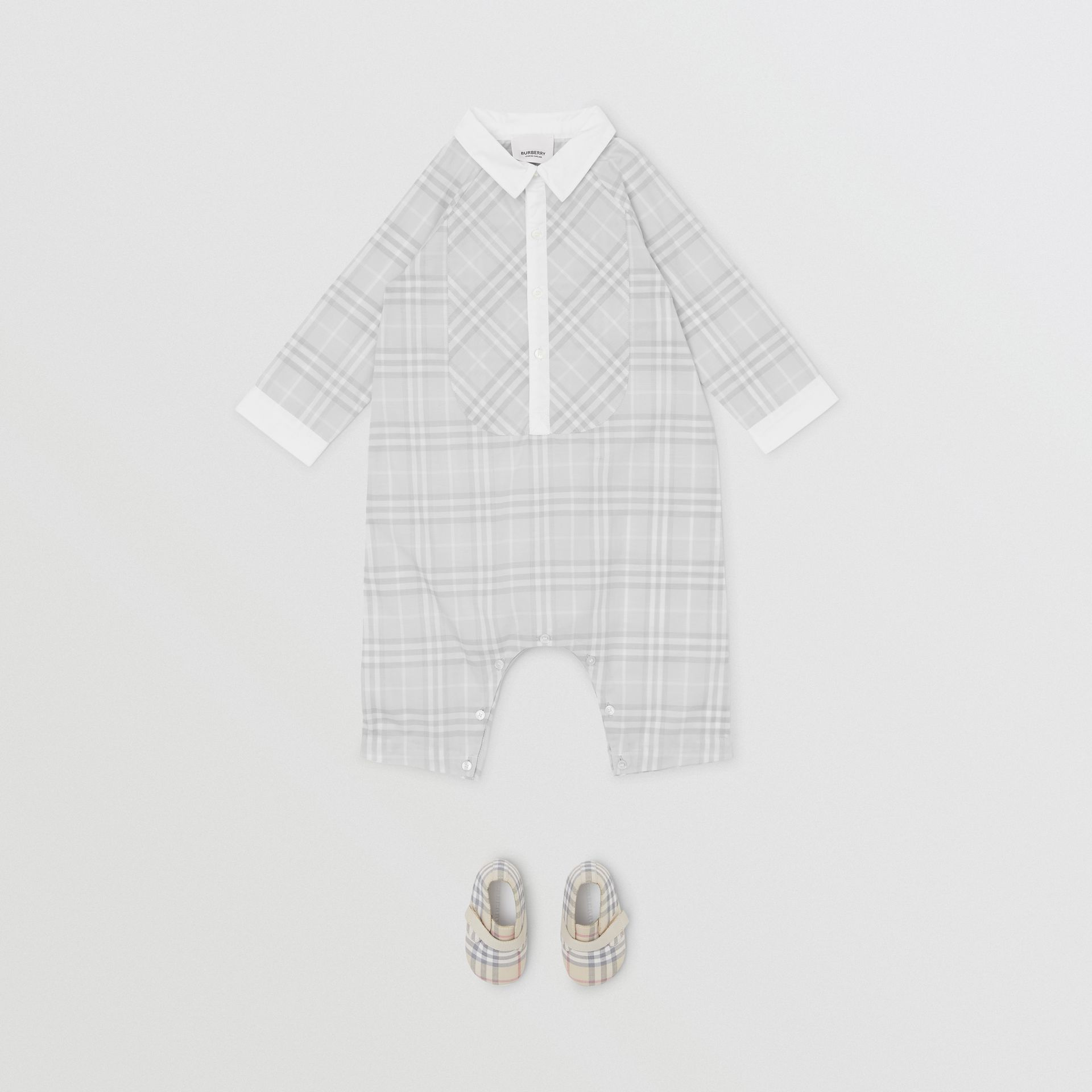 Bib Detail Check Cotton Jumpsuit in Pale Grey - Children | Burberry - gallery image 1